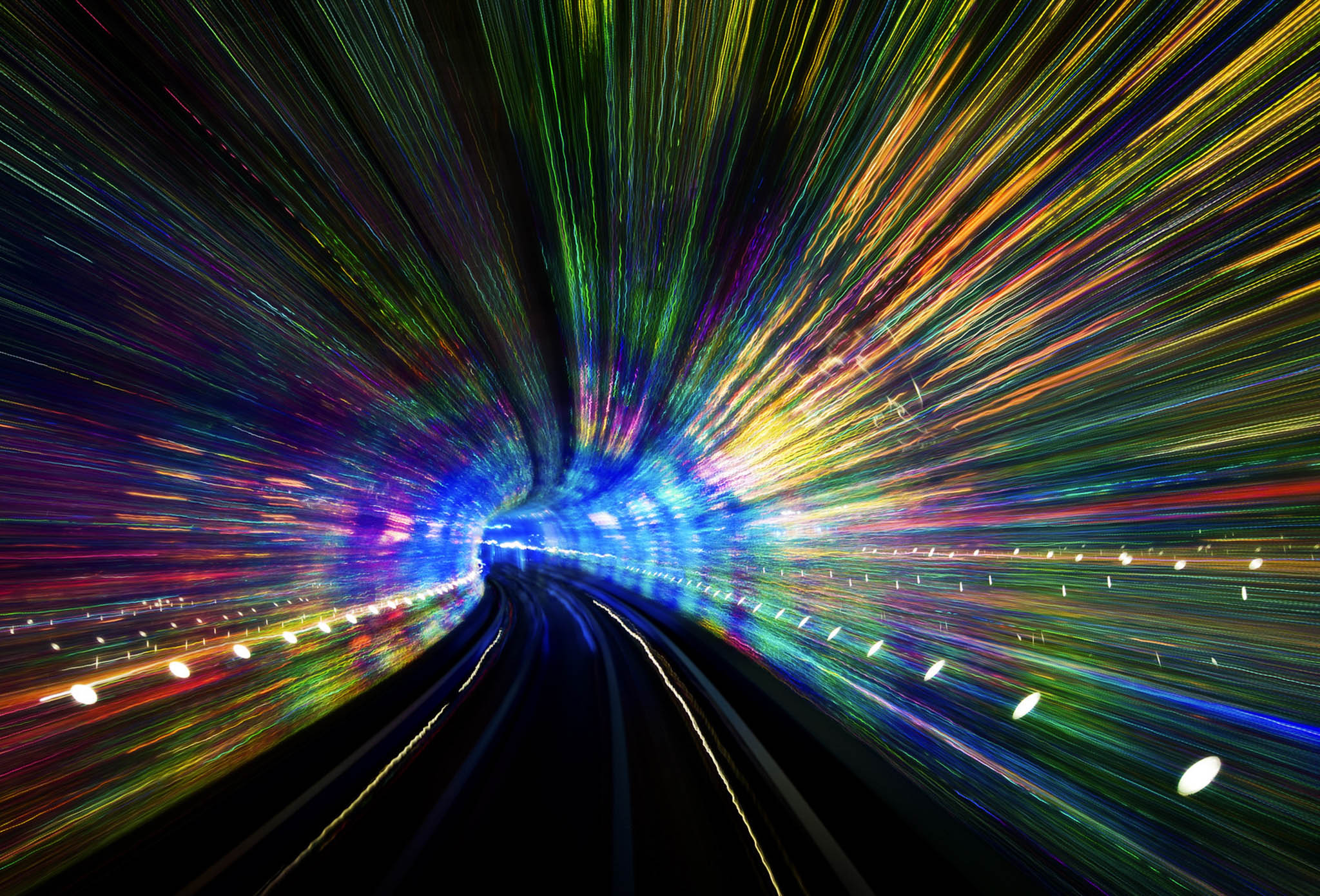 A long exposure in a tunnel filled with LED Lights
