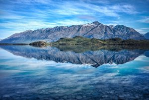 A reflective view of a New Zealand Glacial Lake